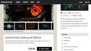 A sales page at Beamdog