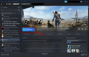 The Install button on a Steam game page