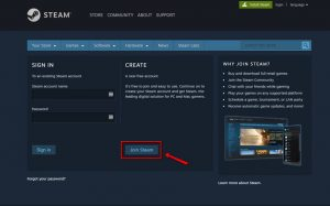 Join Steam Button on Web