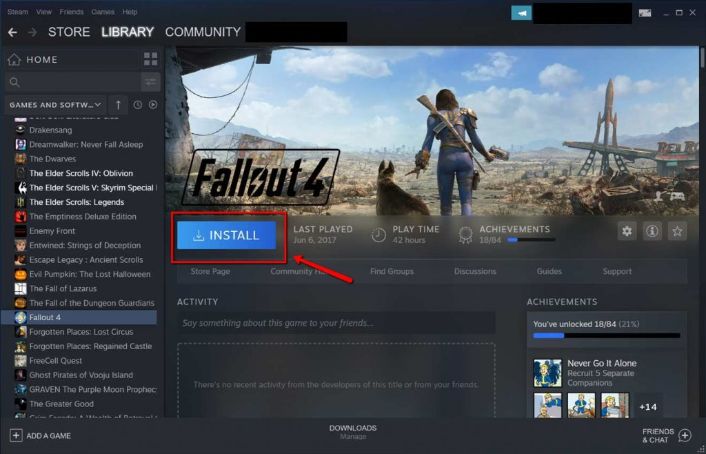Steam library page