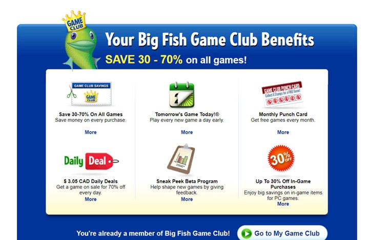 Big Fish Games Club Page