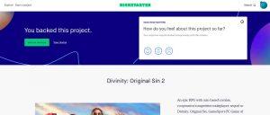 The backer page for Divinity: Original Sin 2 at Kickstarter