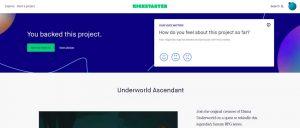 Backer page for Underworld Ascendant at Kickstarter