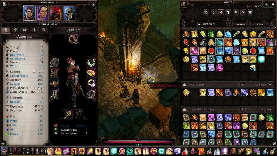 The inventory from RPG Divinity: Original Sin 2