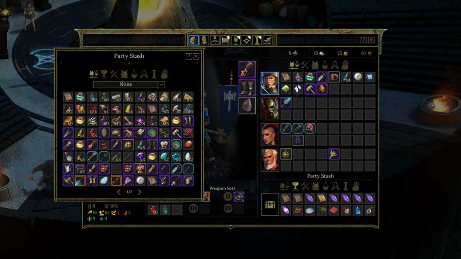 Inventory from the RPG Tyranny