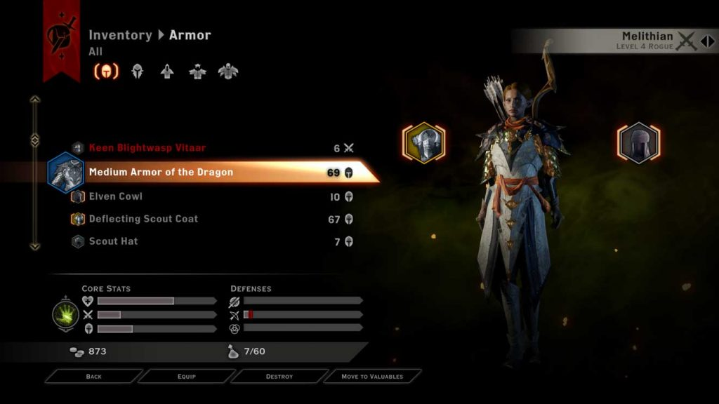 Inventory for the RPG Dragon Age: Inquisition